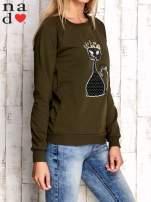 Khaki bluza z cekinowym kotem                                  zdj.                                  3