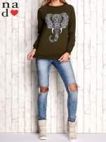 Khaki bluza z nadrukiem słonia                                  zdj.                                  4