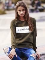 Khaki bluza z napisem AWESOME