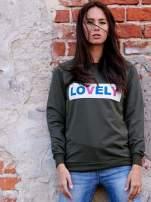 Khaki bluza z napisem LOVELY                                  zdj.                                  1