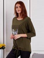Khaki bluza z motywem motyli                                  zdj.                                  3
