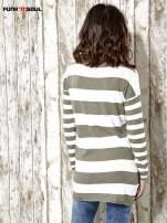 Khaki długi sweter w szerokie paski Funk n Soul                                  zdj.                                  2