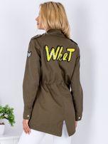 Khaki kurtka parka z cekinowymi naszywkami                                  zdj.                                  2