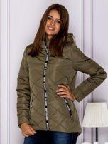 Khaki kurtka przejściowa z ozdobnymi suwakami                                  zdj.                                  1
