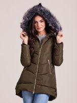 Khaki kurtka zimowa z kapturem i futerkiem                                  zdj.                                  6