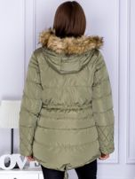 Khaki ocieplana kurtka z futrzanym kapturem                                  zdj.                                  2
