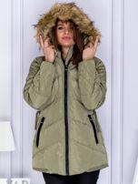 Khaki ocieplana kurtka z futrzanym kapturem                                  zdj.                                  6