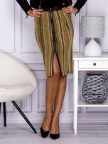 Khaki pasiasta spódnica midi z zipem                                  zdj.                                  1