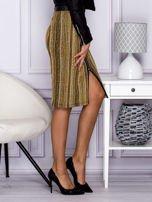 Khaki pasiasta spódnica midi z zipem                                  zdj.                                  5