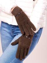 Khaki rękawiczki damskie z ćwiekami                                  zdj.                                  2