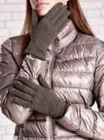 Brązowe rękawiczki z błyszczącą nicią z wywijanym mankietem                                                                          zdj.                                                                         1
