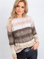 Khaki-różowy sweter Florine                                  zdj.                                  1