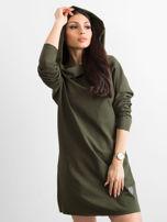 Khaki sukienka dresowa z szerokim kołnierzem                                  zdj.                                  5