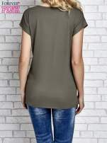 Khaki t-shirt z napisem I AM CHOCOHOLIC BABY                                                                          zdj.                                                                         3