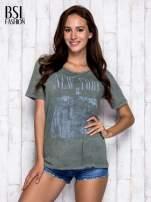 Khaki t-shirt z napisem NEW YORK                                                                          zdj.                                                                         3