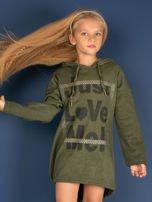 Khaki tunika dla dziewczynki z kapturem i napisem                                  zdj.                                  3