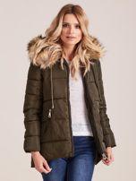 Khaki zimowa kurtka z futerkiem                                  zdj.                                  6