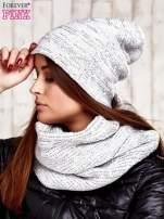 Komplet  biała melanżowa czapka beanie i komin                                  zdj.                                  3