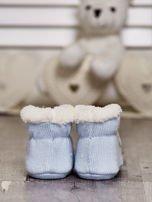 Komplet bucików dziecięcych z naszywkami ecru-jasnoniebieski                                  zdj.                                  7