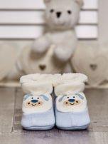 Komplet bucików dziecięcych z naszywkami ecru-jasnoniebieski                                  zdj.                                  9