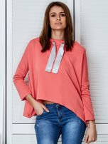 Koralowa bluza z kapturem i wstążką                                  zdj.                                  1