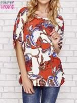 Koralowa bluzka koszulowa z biżuteryjnym nadrukiem                                  zdj.                                  1