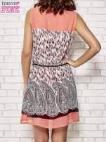 Koralowa sukienka boho z paskiem z frędzlami                                                                          zdj.                                                                         4