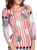 Koralowa sukienka w kwiatowe i geometryczne wzory                                                                          zdj.                                                                         7
