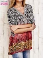 Koralowa wzorzysta koszula oversize z dekoltem z cyrkonii                                  zdj.                                  3
