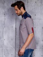 Koszula męska w kratkę z denimowym wykończeniem PLUS SIZE                                  zdj.                                  3