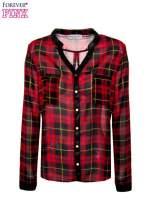 Koszula w czerwoną kratę ze skórzaną lamówką                                                                          zdj.                                                                         2