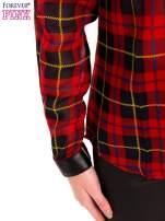 Koszula w czerwoną kratę ze skórzaną lamówką                                  zdj.                                  6