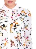 Koszula w kolibry z różowym kołnierzykiem, mankietami i listwą                                  zdj.                                  7