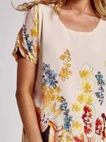 Kremowa tunika mgiełka w kwiaty