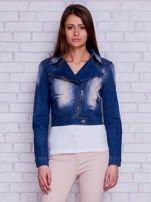 Kurtka jeansowa ramoneska z przetarciami niebieska                                  zdj.                                  5