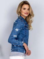 Kurtka jeansowa z perełkami i przedarciami niebieska                                  zdj.                                  3