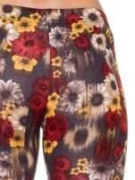 Kwiatowe legginsy w kolorze brązowym                                                                          zdj.                                                                         6