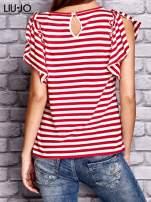 LIU JO Czerwony t-shirt w paski z kobiecym nadrukiem                                  zdj.                                  3