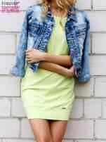 Limonkowa gładka sukienka ze ściągaczem na dole                                  zdj.                                  3