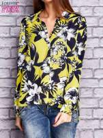 Limonkowa koszula z motywem kwiatowym                                  zdj.                                  1