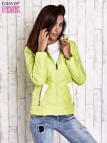 Limonkowa pikowana kurtka z jasnym wykończeniem                                  zdj.                                  4