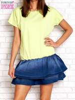 Limonkowa sukienka dresowa z jeansowym dołem                                                                          zdj.                                                                         1