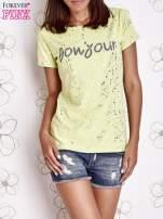 Żółty t-shirt z napisem BONJOUR                                                                          zdj.                                                                         1