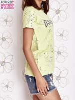 Limonkowy t-shirt z napisem BONJOUR                                  zdj.                                  3