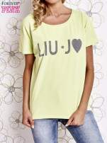 Limonkowy t-shirt z napisem LIU J❤                                  zdj.                                  1