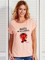 Łososiowy t-shirt damski AGATA NIE DLA WARIATA by Markus P                                  zdj.                                  1
