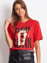 Luźny t-shirt z nadrukiem popcornu z cekinami czerwony                                  zdj.                                  1