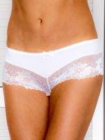 Majtki szorty damskie z koronką białe                                  zdj.                                  1