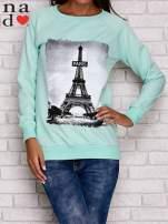 Miętowa bluza z motywem Wieży Eiffla                                  zdj.                                  2