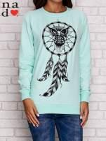 Miętowa bluza z motywem sowy i łapacza snów                                                                          zdj.                                                                         1
